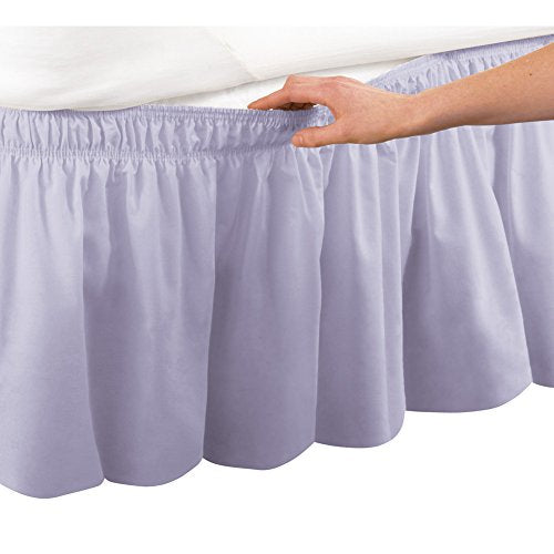 Collections Etc Wrap Around Bed Skirt, Easy Fit Elastic Dust Ruffle, Lilac, Queen/King