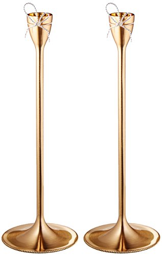 Wedgwood Vera Wang Love Knots Taper Candle Holder Pair, Gold
