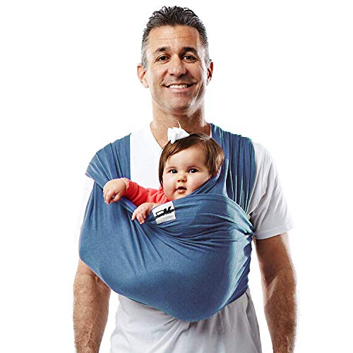 Baby K'tan Original Baby Wrap Carrier, Infant and Child Sling - Simple Wrap Holder for Babywearing - No Rings or Buckles - Carry Newborn up to 35 lbs, Denim, Women 6-8 (Small), Men 37-38