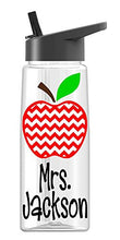 Personalized Drink ware Teacher Apple Chevron design with name (26 oz Regular)
