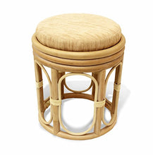SunBear Furniture Natural Rattan Wicker Stool Pier Plant Stand Handmade Design ECO, Cream