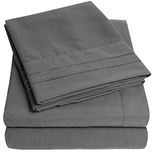 1500 Supreme Collection Extra Soft King Sheets Set, Gray - Luxury Bed Sheets Set with Deep Pocket Wrinkle Free Hypoallergenic Bedding, Over 40 Colors, King Size, Gray