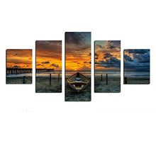 5 Panels A Boat By Sea in Sunrise Stretched and Framed Canvas Artwork Paintings on Wall Art Ready to Hang for Living Room Bedroom Home Decorations