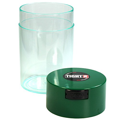 Tightvac - 1 oz to 6 ounce Airtight Multi-Use Vacuum Seal Portable Storage Container for Dry Goods, Food, and Herbs - Dark Green Cap & Clear Body