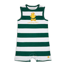 Pavilion- 6-12 Month Green Striped Camp Fire Camping Baby Boy Romper
