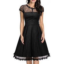 Goddessvan Women Sexy Lace Short Sleeve Backless Dress Slim Party Cocktail Plus Mini Dress (M, Black)