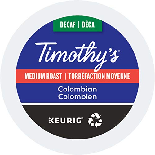Timothy's World Coffee Decaf Colombian K Cup Coffee, 24 Count (Pack Of 2) (Packaging May Vary)
