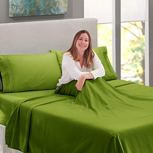 Nestl Deep Pocket Twin Sheets: 3 Piece Twin Size Bed Sheets With Fitted Sheet, Flat Sheet, Pillow Ca
