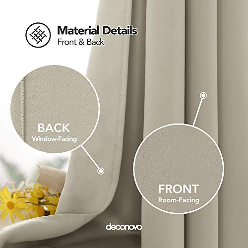 Deconovo Set Of 2 Blackout Curtains For Bedroom Thermal Insulated Room Darkening Light Noise Blockin