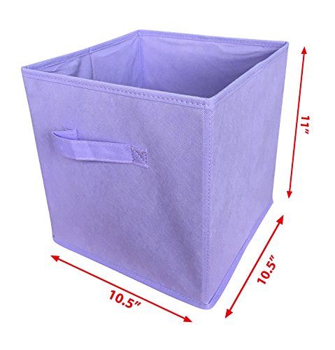 Sodynee Foldable Cloth Storage Cube Basket Bins Organizer Containers Drawers, 6 Pack, Light Purple