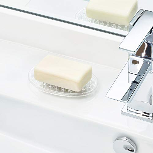 iDesign Plastic Soap Saver, Holder Tray for Bathroom Counter, Shower, Kitchen, 0.75 in. x 3.25 in. x 4.75 in., Clear