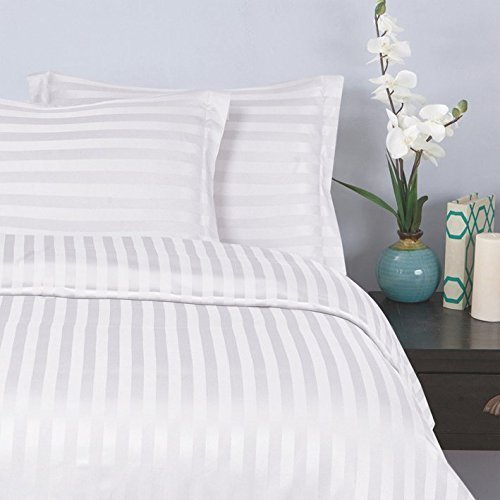 Elegant Comfort Wrinkle & Fade Resistant 1500 Thread Count - Damask Stripes Egyptian Quality Luxurious Silky Soft 3pc Duvet Cover Set, Full/Queen, White