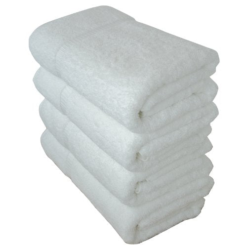"Luxury Hotel & Spa Bath Towel 100% Genuine Turkish Cotton, 27"" x 54"" ,Set of 4,White"