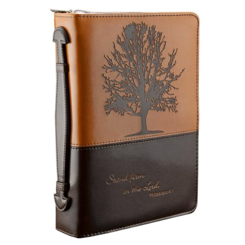 """ Stand firm in the Lord"" Two-tone Bible Cover - Philippians 4:1 (Large) """