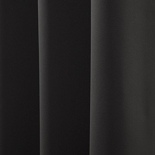 "Best Home Fashion Basic Thermal Insulated Blackout Curtains - Antique Bronze Grommet Top - Black - 52"" W x 84"" L - No tie Backs (Set of 2 Panels)"