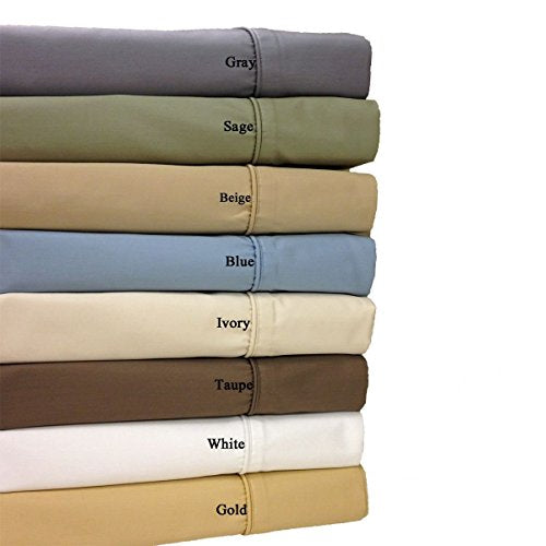 Royal Hotel 650-Thread-Count Bed Sheets - Wrinkle Free Sheets - Deep Pocket, Cotton Blend, Sateen Sheets, Hypoallergenic, 5 Piece - Split-King : Adjustable King Size - Gold