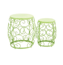 Benzara The Delightful Metal Stool, Green, Set of 2