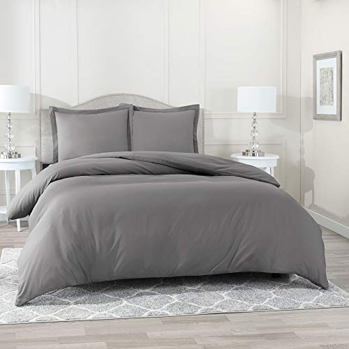"Nestl Bedding Duvet Cover 3 Piece Set - Ultra Soft Double Brushed Microfiber Hotel Collection - Comforter Cover with Button Closure and 2 Pillow Shams, Gray - Queen 90""x90"""