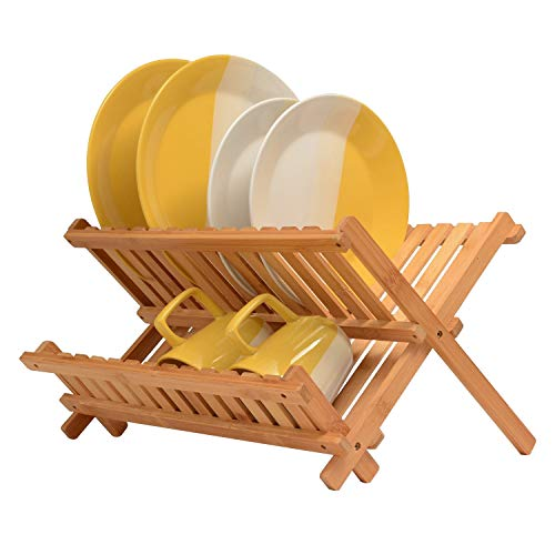 Bambusi Collapsible Dish Drying Rack   Bamboo Kitchen Folding Dish Rack & Plate Holder   Compact & F