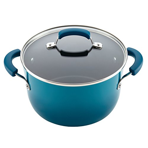 Rachael Ray 17683 Brights Nonstick Cookware Pots and Pans Set, 10 Piece, Marine Blue