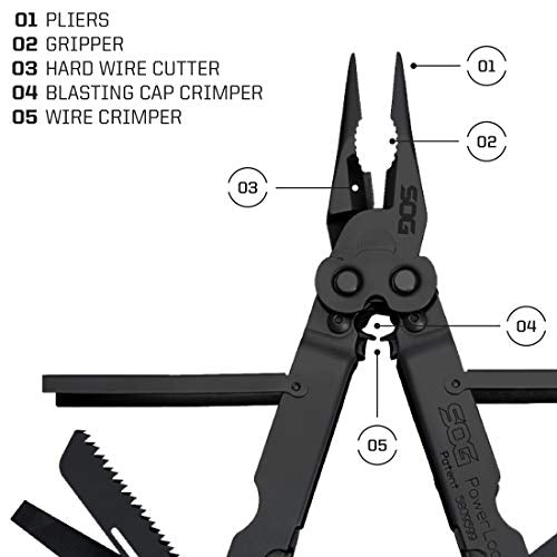 SOG Multitool - PowerLock EOD Heavy Duty Tactical Multitool, Military Multi Tool with Sheath, w/ Wire Stripper and 18 Hand Tools for Mechanics (B61N-CP)