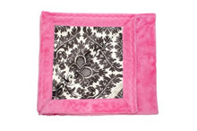 Black & White Damask Minky Kids Blanket w/ Fuchsia Pink Back - Comfy & Durable Toddler Sized Blankie