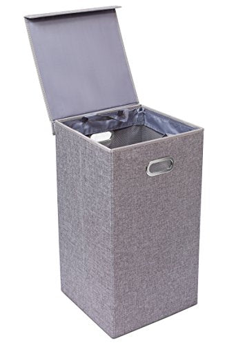 BirdRock Home Single Laundry Hamper with Lid and Removable Liner - Linen - Easily Transport Laundry - Foldable Hamper - Cut Out Handles