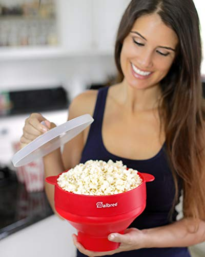 Original Salbree Microwave Popcorn Popper, Silicone Popcorn Maker, Collapsible Bowl BPA Free - 18 Colors Available (Red)