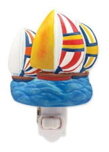 Cape Shore Bright Colorful Spinnakers Sailboats Sculpted Resin Night Light