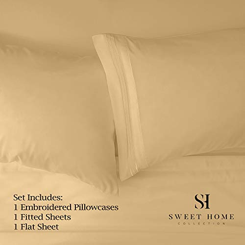 1500 Supreme Collection Bed Sheets - PREMIUM QUALITY BED SHEET SET & LOWEST PRICE, SINCE 2012 - Deep Pocket Wrinkle Free Hypoallergenic Bedding - Over 40+ Colors & Prints - 3 Piece, Twin, Camel
