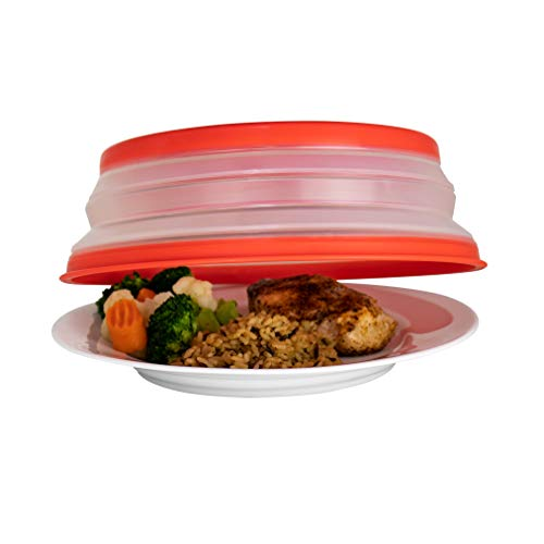 Tovolo Vented Collapsible Microwave Food Cover With Easy Grip Handle, Dishwasher Safe, Bpa Free Sili