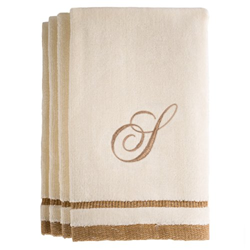 Monogrammed Gifts, Fingertip Towels, 11 x 18 Inches - Set of 4- Decorative Golden Brown Embroidered Towel - Extra Absorbent 100% Cotton- Personalized Gift- for Bathroom/Kitchen- Initial S (Ivory)