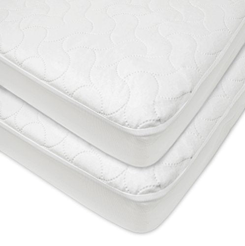 American Baby Company Waterproof Fitted Quilted Crib And Toddler Protective Pad Cover, White (2 Coun