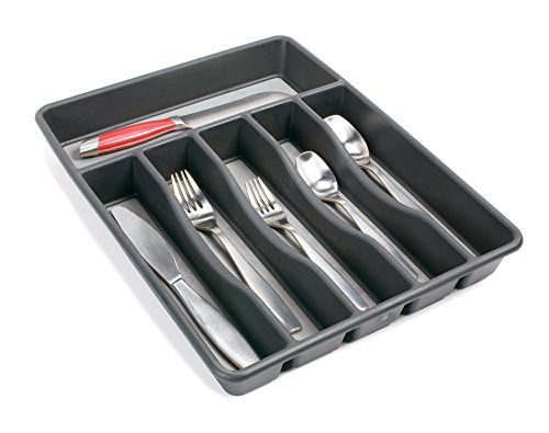 Rubbermaid No-Slip Large, Silverware Tray Organizer, Black with Gray 1994536