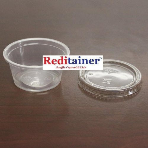 Reditainer RDSC200100 Plastic Disposable Portion Souffle, 2 Ounce Count, Package of 100 Cups With Lids