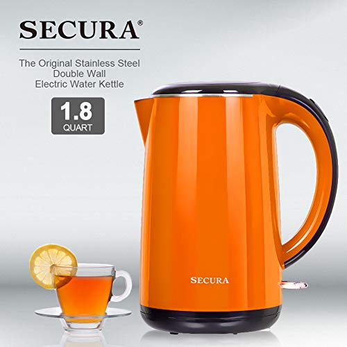 Secura SWK-1701DB The Original Stainless Steel Double Wall Electric Water Kettle 1.8 Quart, Orange