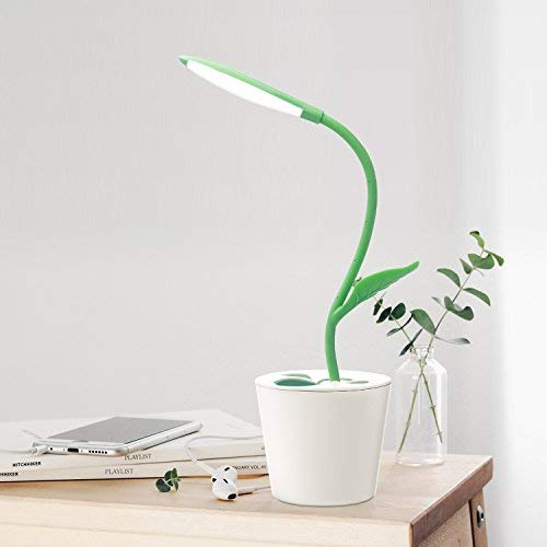 IEGROW Kids and Adults Desk Lamp, Flexible USB Touch LED Lamp with 3 Level Dimmer and Plant Pencil Holder ( Dark Green )