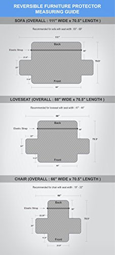 Linen Store Quilted Reversible Microfiber Pet Dog Couch Furniture Protector Cover Loveseat (Coffee/T