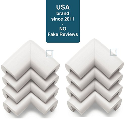 Roving Cove Corner Protector (8 Pack), Furniture Corner Bumper Guards, 3 M Pre Taped, Oyster White