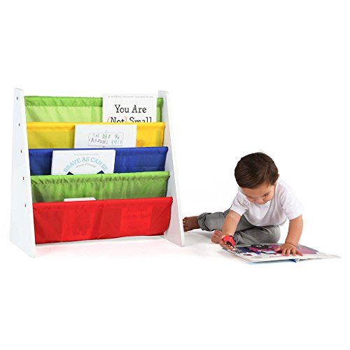 Tot Tutors Kids Book Rack Storage Bookshelf, White/Primary (Summit Collection)