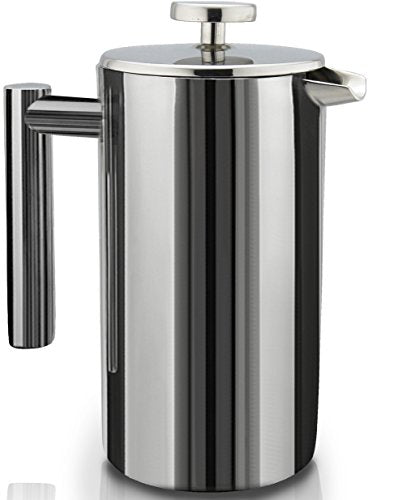 Sterling Pro French Press Coffee Maker (1 L) Double Walled Large Coffee Press With 2 Free Filters Enjo