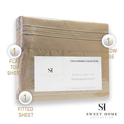 1500 Thread Count 3pc Bed Sheet Set Egyptian Quality Deep Pocket - All Size, 12 Colors - Twin, Taupe