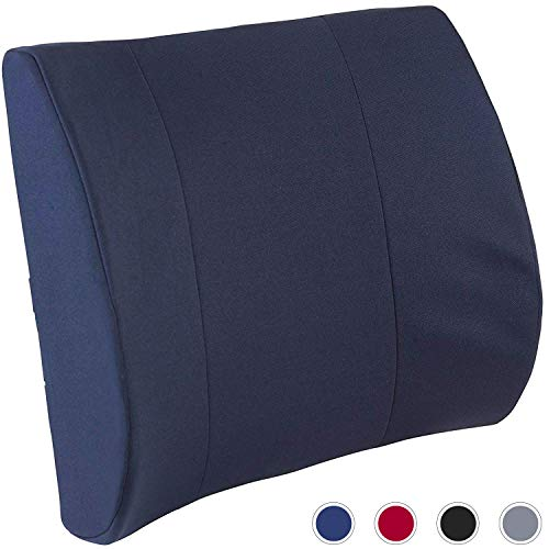 DMI Lumbar Support Pillow for Office or Kitchen Chair, Car Seat or Wheelchair Comes with Removable Washable Cover and Firm Insert to Ease Lower Back Pain and Discomfort While Improving Posture, Navy