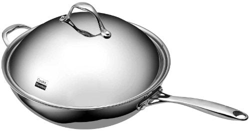 Cooks Standard Stainless Steel Stir Fry Pan With Dome Lid 13 Inch Multi Ply Clad Wok, Silver