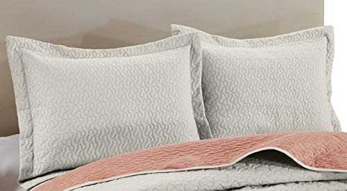 Chezmoi Collection Mesa 3-Piece Oversized Reversible Bedspread Coverlet Set (Queen, Ivory/Salmon)