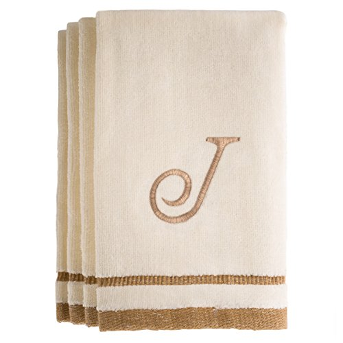 Monogrammed Gifts, Fingertip Towels, 11 x 18 Inches - Set of 4- Decorative Golden Brown Embroidered Towel - Extra Absorbent 100% Cotton- Personalized Gift- for Bathroom/Kitchen- Initial J (Ivory)