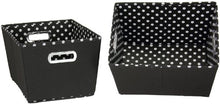 Household Essentials 19KDBLK-1 Small Tapered Decorative Storage Bins with 2 Pack Set Cubby Baskets, Black and White Mini-Dots