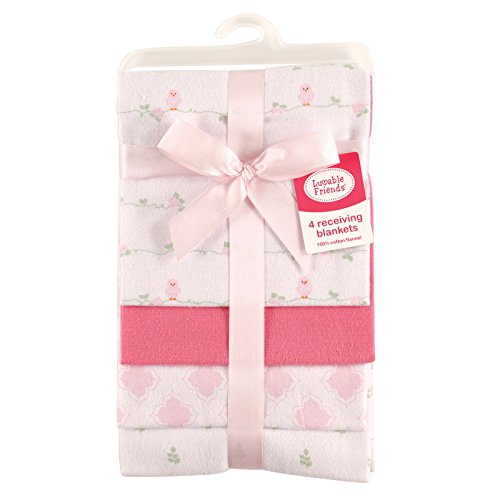 Luvable Friends Unisex Baby Cotton Flannel Receiving Blankets, Bird, One Size