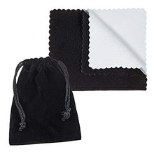 The Bling Factory 5'x7' Large Black Velvet Anti-Tarnish Jewelry Pouch/Gift Bag + Microfiber Cloth