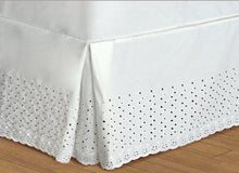 United Curtain Vienna Embroidered Eyelet Bedskirt Twin - 21'' DROP - NATURAL